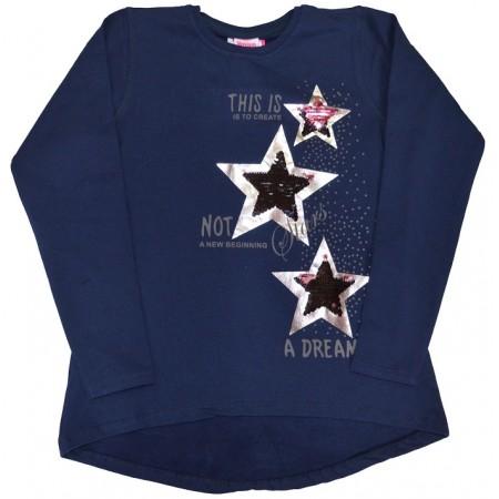 Ватирана блуза ЗВЕЗДИ 146-176 ръст в тъмно синьо.