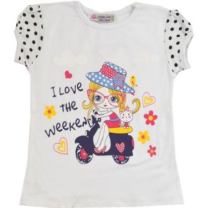 Детска блуза МОМИЧЕНЦЕ С КОЛЕЛО 2-3 години.
