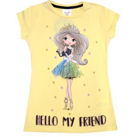 Детска блуза ПРИНЦЕСА 4-7 години в жълто.