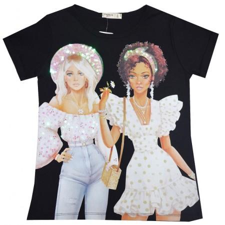 Детска блуза КОКЕТКИ 140-176 ръст в черно фирма BREEZE.