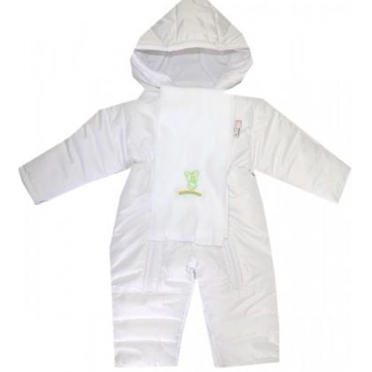 Бебешки зимен гащеризон 68-80 ръст в бяло.