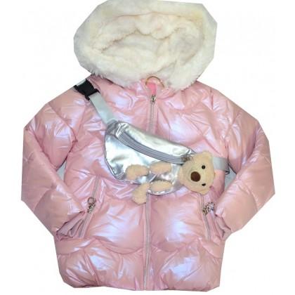 Зимно детско яке с чантичка 3-7 години в нежно розово.