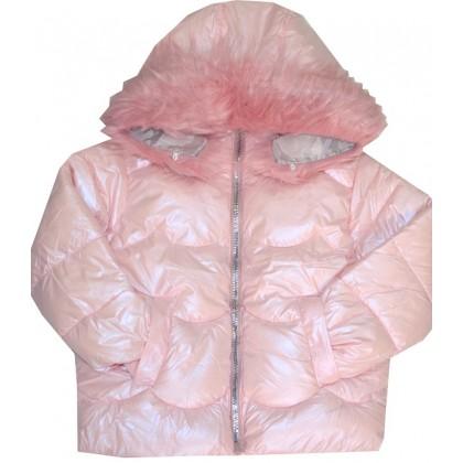 Зимно детско яке 4-8 години в нежно розово.
