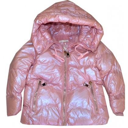 Зимно детско яке 4-14 години в нежно розово.