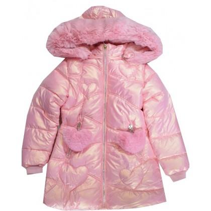 Зимно детско яке 3-8 години в нежно розово.