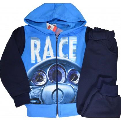 Ватиран детски анцуг RACE 3-6 години в синьо.