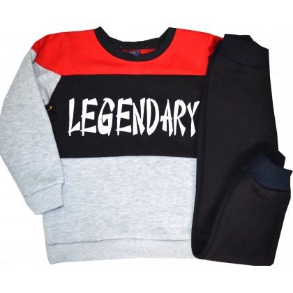Ватиран детски анцуг LEGENDARY 4-6 години с червено.