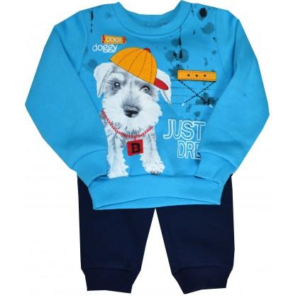 Ватиран детски анцуг КУЧЕНЦЕ 1-3 години в синьо.
