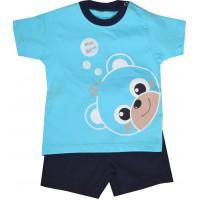 Бебешки комплект МЕЧЕ 3-9 месеца в синьо.