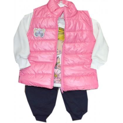 Детски комплект ПЕПЕРУДА 1-3 години в розово.