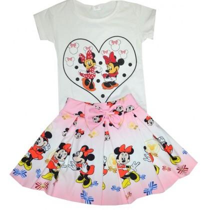 Детски комплект с пола ММ 3-7 години в розово.