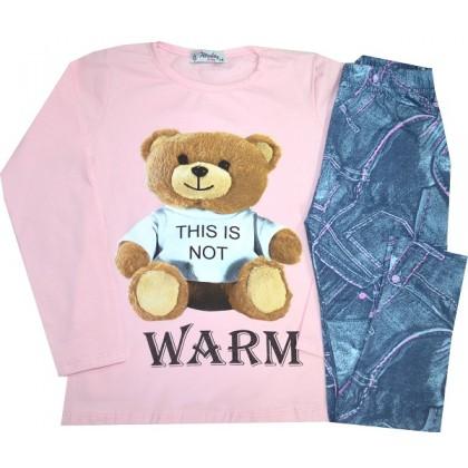 Детски комплект МЕЧО 5-7 години в розово.