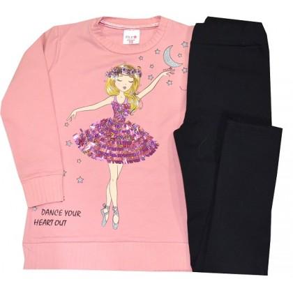 Леко ватиран детски комплект БАЛЕРИНКА 5-8 години в розово.