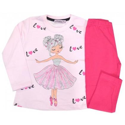 Ватиран детски комплект БАЛЕРИНА 2-5 години в розово.