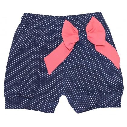 Детски къси панталони СЛАВЕЙКА 98-122 ръст с цикламена панделка.