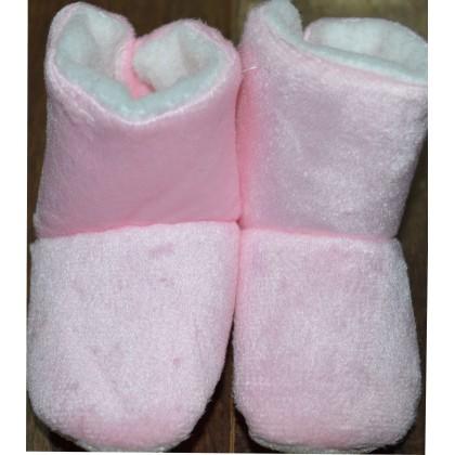 Бебешки меки ботушки в розово.