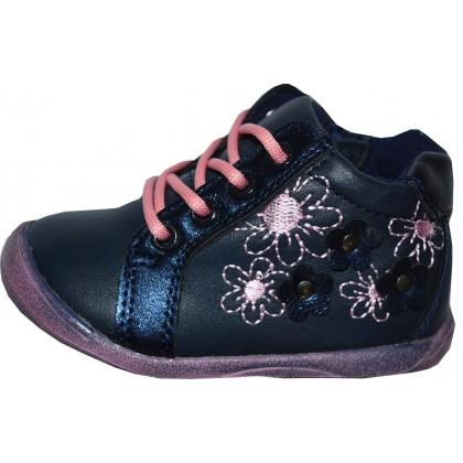 Детски обувки ЦВЕТЯ 19-24 номер в тъмно синьо.