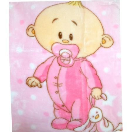 Бебешко одеяло БЕБЕ в розово.