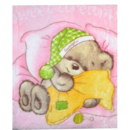 Бебешко одеяло МЕЧЕ в розово.