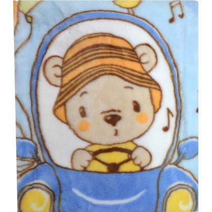 Бебешко одеяло БЕБЕ В КОЛА в синьо.