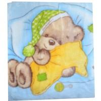 Бебешко одеяло МЕЧЕ в синьо.
