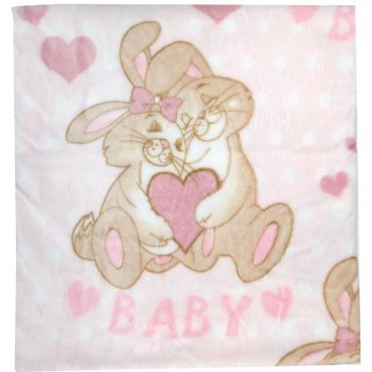 Бебешко одеяло ЗАЙЧЕТА 114/92 в розово.