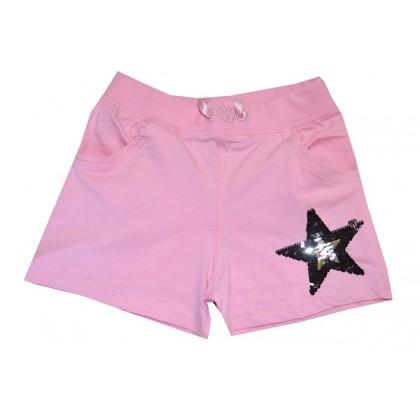 Къси детски панталони ЗВЕЗДA от 5-10 години в розово.
