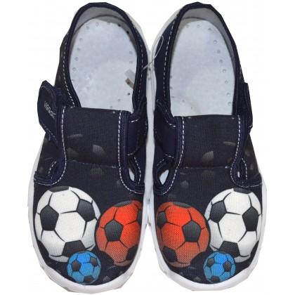 Детски пантофи ФУТБОЛ 26-32 номер в тъмно синьо.
