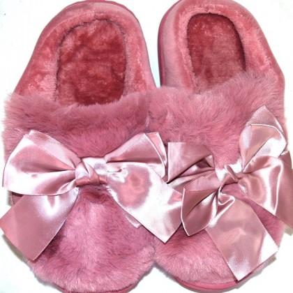 Меки пухкави пантофи ПАНДЕЛКА 36-40 номер в пепел розово.