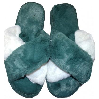 Меки пухкави пантофи 36-40 номер в зелено.