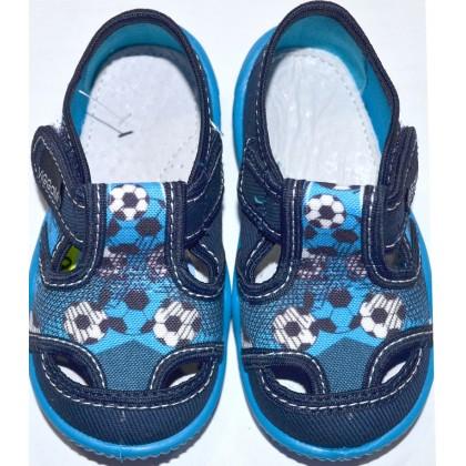 Детски пантофи ФУТБОЛ 20-25 номер в тъмно синьо.