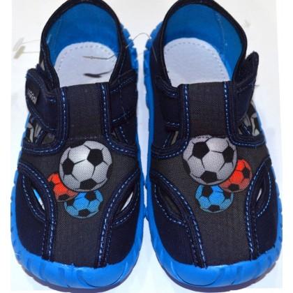 Детски пантофи ФУТБОЛ 25-30 номер в тъмно синьо.