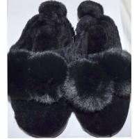 Детски пантофи ПУХЕНИ 26-35 номер в черно.
