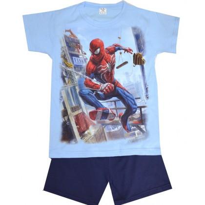Детска пижама къс ръкав СПАЙДЕРМЕН 122-134 ръст в синьо.