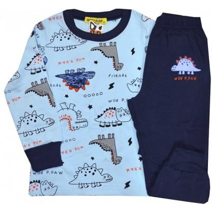 Детска пижама ДИНОЗАВРИ 1-5 години в синьо.