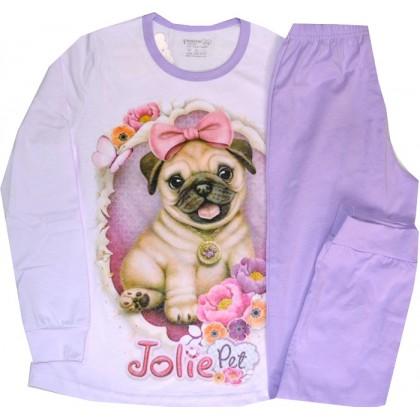 Детска пижама КУЧЕ 134-164 ръст в лилаво.