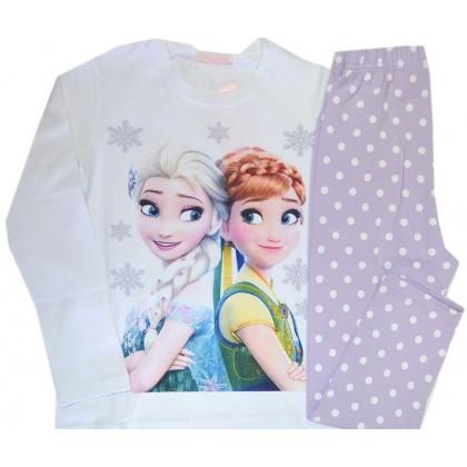 Детска пижама  АНА И ЕЛЗА 116-128 ръст в бяло-лилаво.
