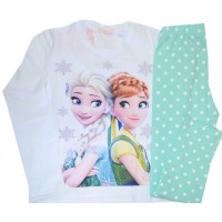Детска пижама  АНА И ЕЛЗА 116-128 ръст в бяло-резида.