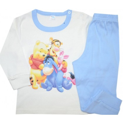 Детска пижама  МЕЧО ПУХ 80 ръст в светло синьо.