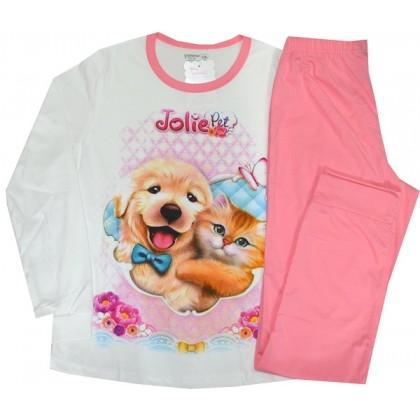 Памучна детска пижама КОТЕ И КУЧЕ 134-170 ръст.