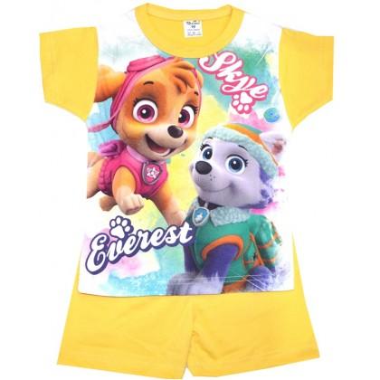 Лятна детска пижама КУЧЕНЦА 98-116 ръст в жълто.
