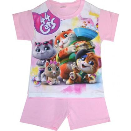 Лятна детска пижама КОТЕТА 98-116 ръст в розово