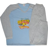 Детска пижама КОЛА 8-9 години в светло синьо.