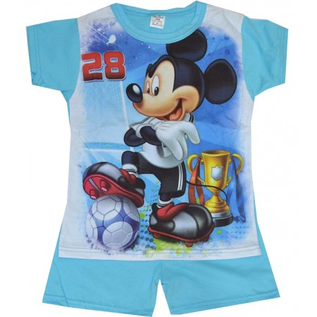 Детска пижама къс ръкав ММ 98-116 ръст в синьо.