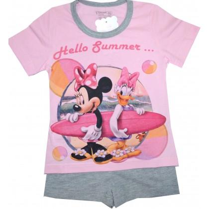 Лятна детска пижама МИНИ МАУС 98-128 ръст в розово.