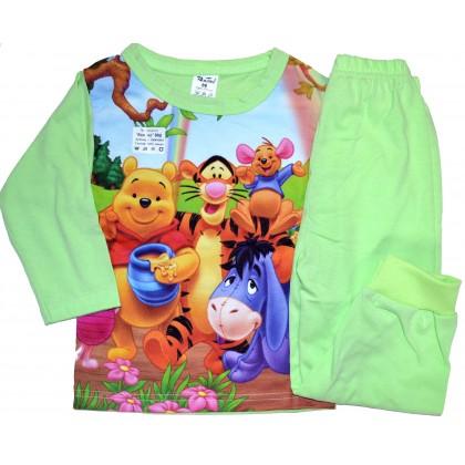 Детска пижама  МЕЧО ПУХ 86-92 ръст в зелено.