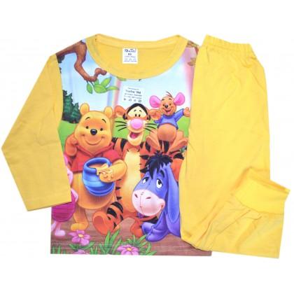 Детска пижама  МЕЧО ПУХ 86-92 ръст в жълто.