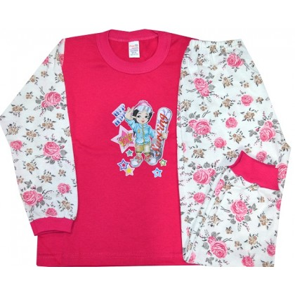 Ватирана детска пижама МОМИЧЕНЦЕ 3-4 години в циклама.