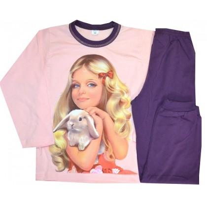 Детска пижама МОМИЧЕ С КУЧЕ 6-7 години в тъмно лилаво.