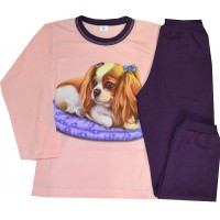 Детска пижама КУЧЕ 6-7 години в тъмно лилаво.